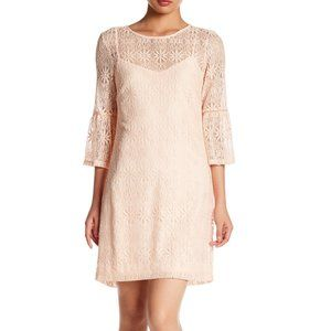 Jessica Simpson Bell Sleeve Lace Dress Pink Size 2